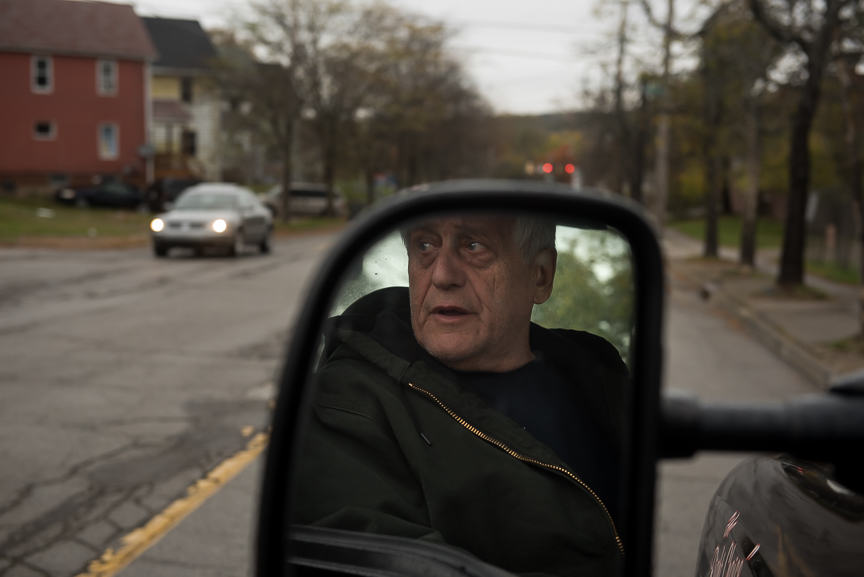 Bill Hummel, 69, who has worked as a tow-truck driver since 1959, sits in his tow truck in Youngstown, Ohio on Oct. 26, 2016.