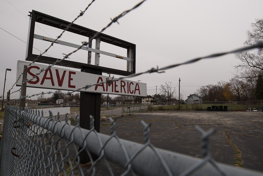 A sign stands in a vacant lot in Youngstown, Ohio on Nov. 23, 2016.