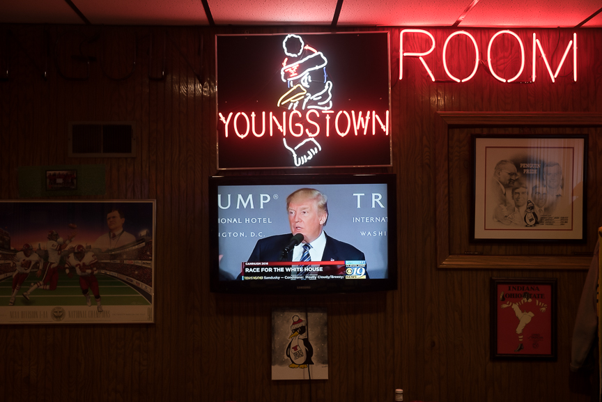 Republican presidential nominee Donald Trump is on a television at the Golden Dawn in Youngstown, Ohio on Oct. 26, 2016.