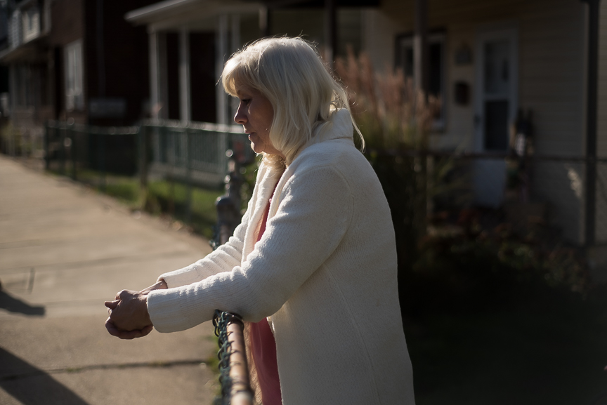 Jean Barefoot, 58, reflects on the loss of her daughter, Jessica Lally, to a heroin overdose as she stands near her Munhall, Pa., home on Tuesday, Oct. 25, 2016. Lally was found by police after her 7-year-old daughter alerted a school bus driver that her parents were blue and she was unable to wake them.