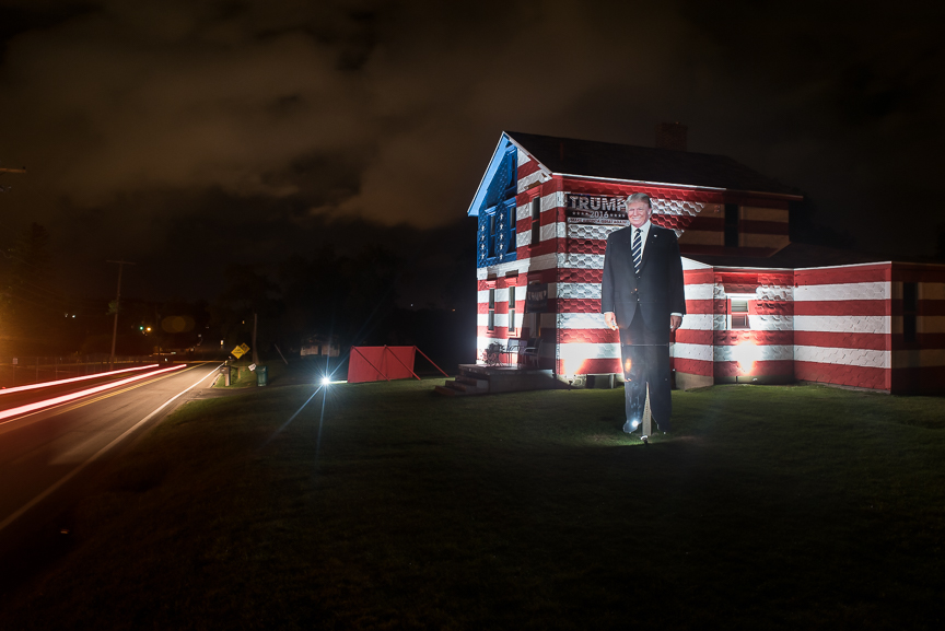 A giant statue of Donald Trump stands in a yard of a home along Route 982 just up the road from the Tin Lizzy, a 266-year-old tavern in Youngstown, Pa., on Sept. 26, 2016.