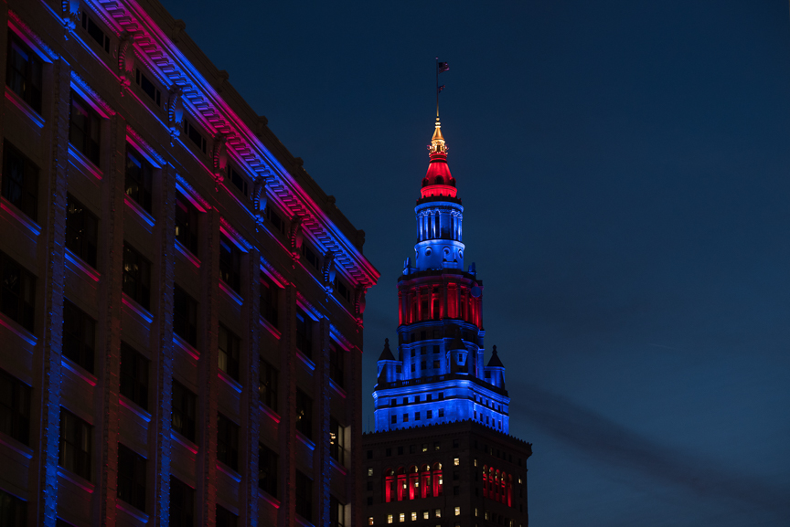 Terminal Tower is lit for game 6 of the World Series on November 1, 2016 in Cleveland, Ohio.