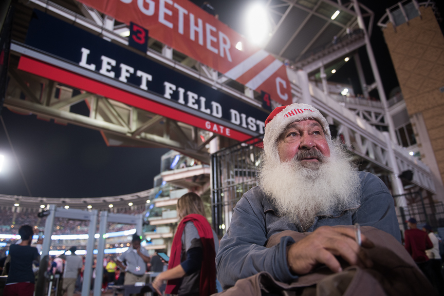 Joe Cooney of Willowick, Ohio stands outside of Progressive Field during game 6 of the World Series on November 1, 2016 in Cleveland, Ohio.