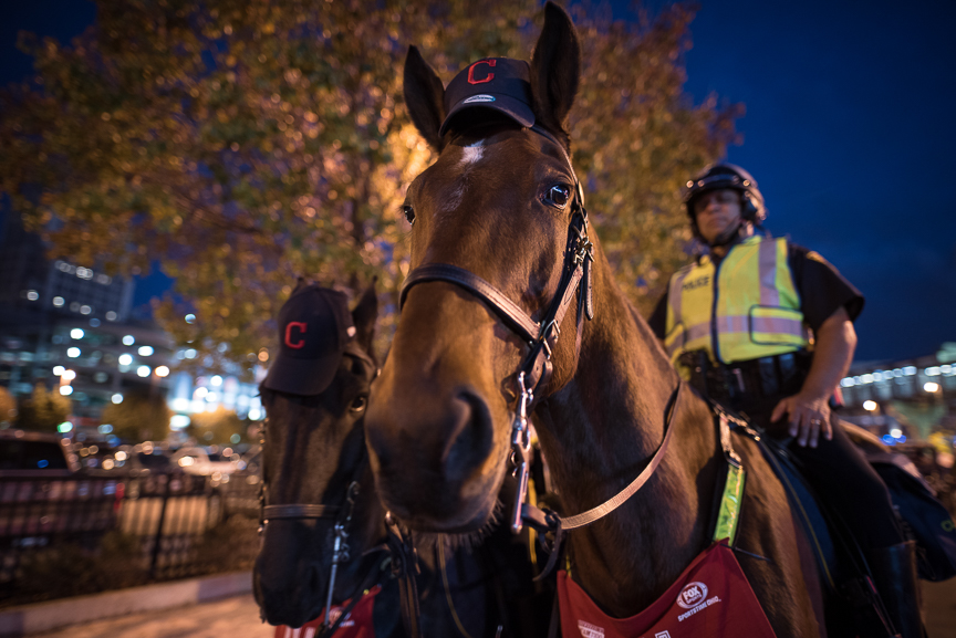 Cleveland Mounted Police keep watch near Progressive Field before the start of game 7 of the World Series between the Cleveland Indians and the Chicago Cubs on November 2, 2016 in Cleveland, Ohio.