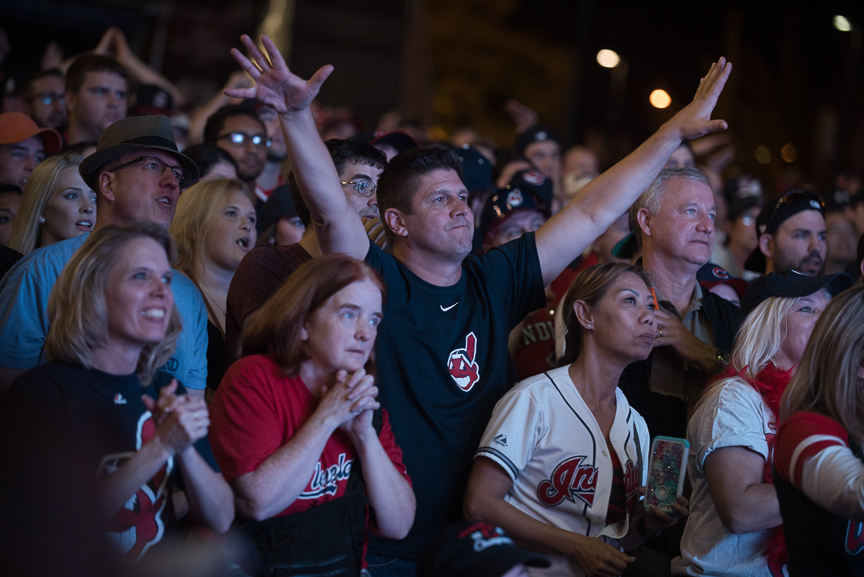 Indian fans react as they watch the big screen outside of Progressive Field during game 7 of the World Series between the Cleveland Indians and the Chicago Cubs on November 2, 2016 in Cleveland, Ohio.