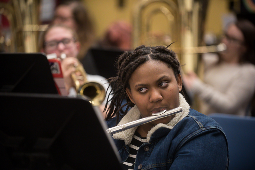 Monet Spencer, 18, plays her flute during her band class at Brashear High School on February 16, 2017.