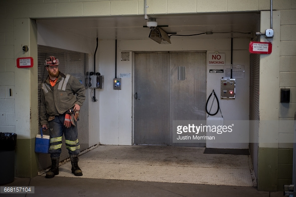 SYCAMORE, PA - APRIL 13: Coal miner Terry Ramer, 32, of Belle Vernon, Pennsylvania., stands near the portal to the Harvey Mine on April 13, 2017 in Sycamore, Pennsylvania. The Harvey Mine, owned by CNX Coal Resources, is part of the largest underground mining complex in the United States. U.S. Environmental Protection Agency Administrator Scott Pruitt visited the mine and spoke with miners on Thursday. (Photo by  Justin Merriman /Getty Images)