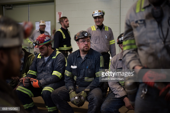SYCAMORE, PA - APRIL 13: Coal miner Matt Wolfe, 32, of Blacksville, West Virginia, who has been mining for 10 years, waits for the arrival of U.S. Environmental Protection Agency Administrator Scott Pruitt who visited the Harvey Mine on April 13, 2017 in Sycamore, Pennsylvania. The Harvey Mine, owned by CNX Coal Resources, is part of the largest underground mining complex in the United States. (Photo by  Justin Merriman /Getty Images)