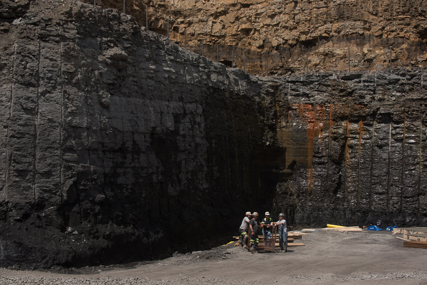 Workers stand in the pit as construction continues on Corsa Coal's Acosta Deep Mine on May 18, 2017 in Friedens, Somerset, Pa. Justin Merriman  for The Wall Street Journal