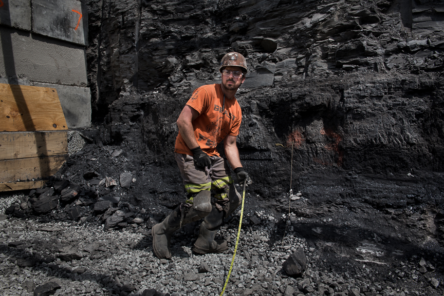 Coal Miner Joe Kostyk, 28, of Sidman, Pa., works on the construction of the drift entrance of Corsa Coal's new Acosta Deep Mine on May 18, 2017 in Friedens, Somerset, Pa.  Justin Merriman  for The Wall Street Journal