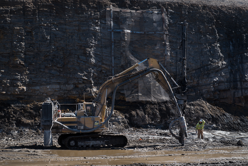 A rig drills holes for explosive charges at the Corsa Coal's new Acosta Deep Mine in Friedens, Somerset County, Pa., on March 22, 2017.  Justin Merriman  for the Financial Times