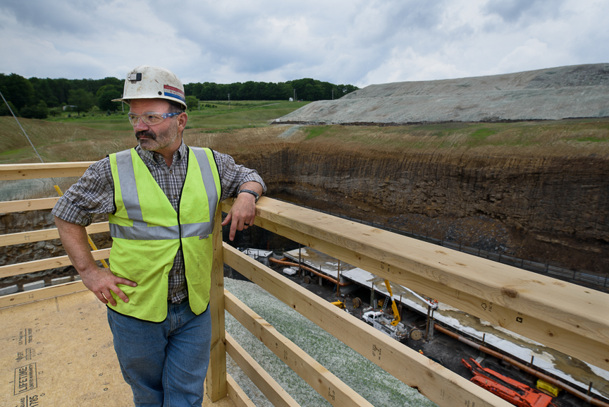 Robert Bottegal stands on a platform above the pit of the new Acosta Deep Mine on Monday, June 5, 2017 in Friedens, Somerset County, Pa. The platform was constructed for the mine's grand opening ceremony that will be held on Thursday.  Justin Merriman  for The Washington Post
