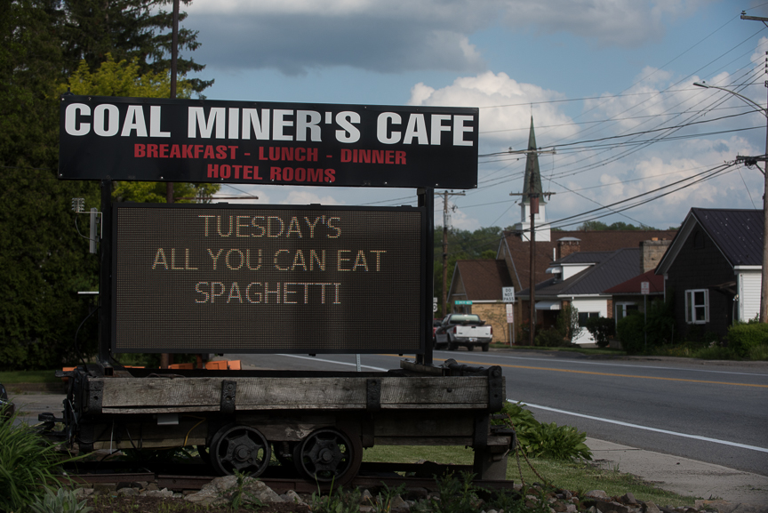 A sign for the Coal Miner's Cafe sits along U.S. Route 30 on May 18, 2017 in Jennerstown, Pa. Justin Merriman  for The Wall Street Journal