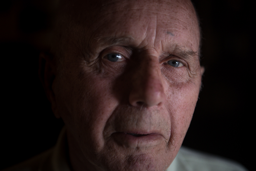 Edward Popernack, 84, who worked in coal mines for over 40 years, poses for a portrait at the Coal Miner's Cafe on Monday, June 5, 2017 in Jennerstown, Pa. Popernack's son, Mark, was one of the coal miners rescued from Quecreek Mine after being trapped for 77 hours in July 2002. Justin Merriman  for The Washington Post