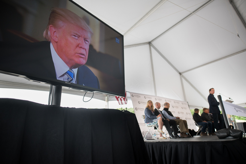 President Donald Trump delivers a recorded message at the grand opening of Corsa Coal's Acosta Deep Mine on June 8, 2017 in Friedens, Pennsylvania.  Justin Merriman /Getty Images