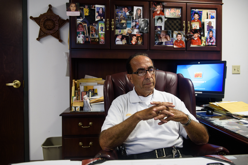 Sheriff Fred Abdalla sits in his office as he discusses the shooting of Jefferson County Judge Joseph Bruzzese Jr.,  on Tuesday, Aug. 22, 2017 in Steubenville, Ohio. Justin Merriman for DailyMail.com