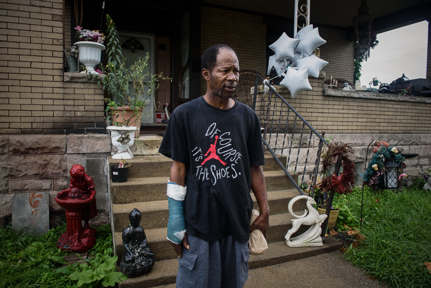 "Curtis Golsby stands in front of the home of Nathaniel ""Snake"" Richmond, after Golsby was released from the Jefferson County jail on Tuesday, Aug. 22, 2017 in Steubenville, Ohio. Golsby was with Richmond when he went to the Jefferson County courthouse and ambushed Judge Joseph Bruzzese Jr., and open fired on him. Richmond was shot and killed during the incident.  Justin Merriman for DailyMail.com"