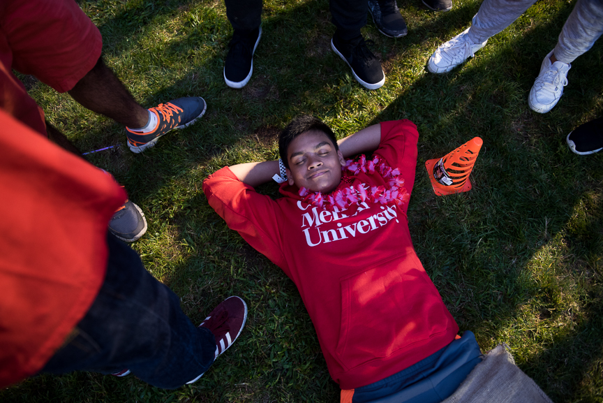 Carnegie Mellon University freshmen participate in 'House Wars,' an orientation activity, as they begin a new semester on Friday, Aug. 25, 2017 on campus in Oakland, Pa.