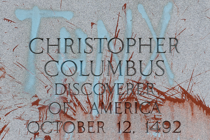The Christopher Columbus statue in Pittsburgh stands splattered with paint after being defaced on Columbus Day, Monday, October 9, 2017.  Many have called for the renaming of the holiday to Indigenous Peoples' Day as a way to recognize the oppression of Native Americans. More than 50 cities and states across the US have renamed Columbus Day with Indigenous Peoples' Day.