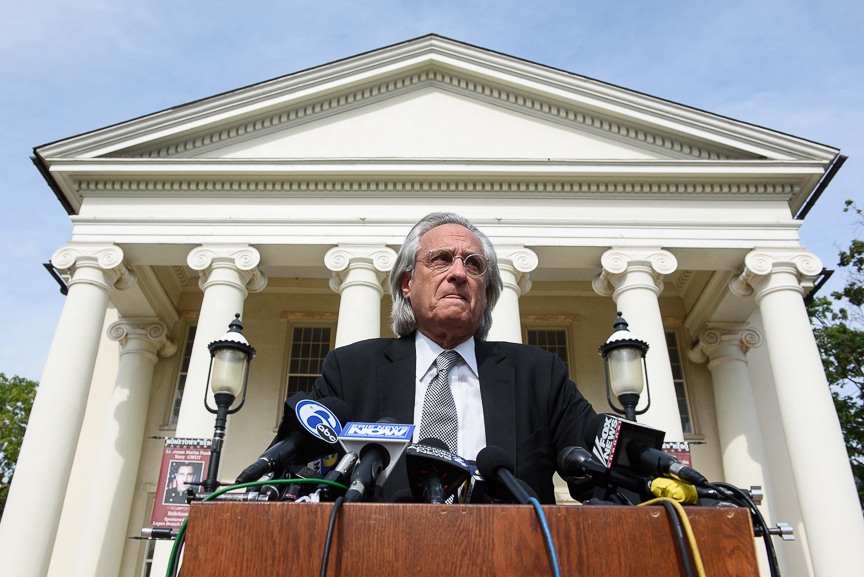 Piazza family attorney Tom Kline speaks with members of the media outside of the Centre County courthouse at the conclusion of the fraternity members' preliminary hearing on Monday, July 10, 2017 in Bellefonte, Pa.