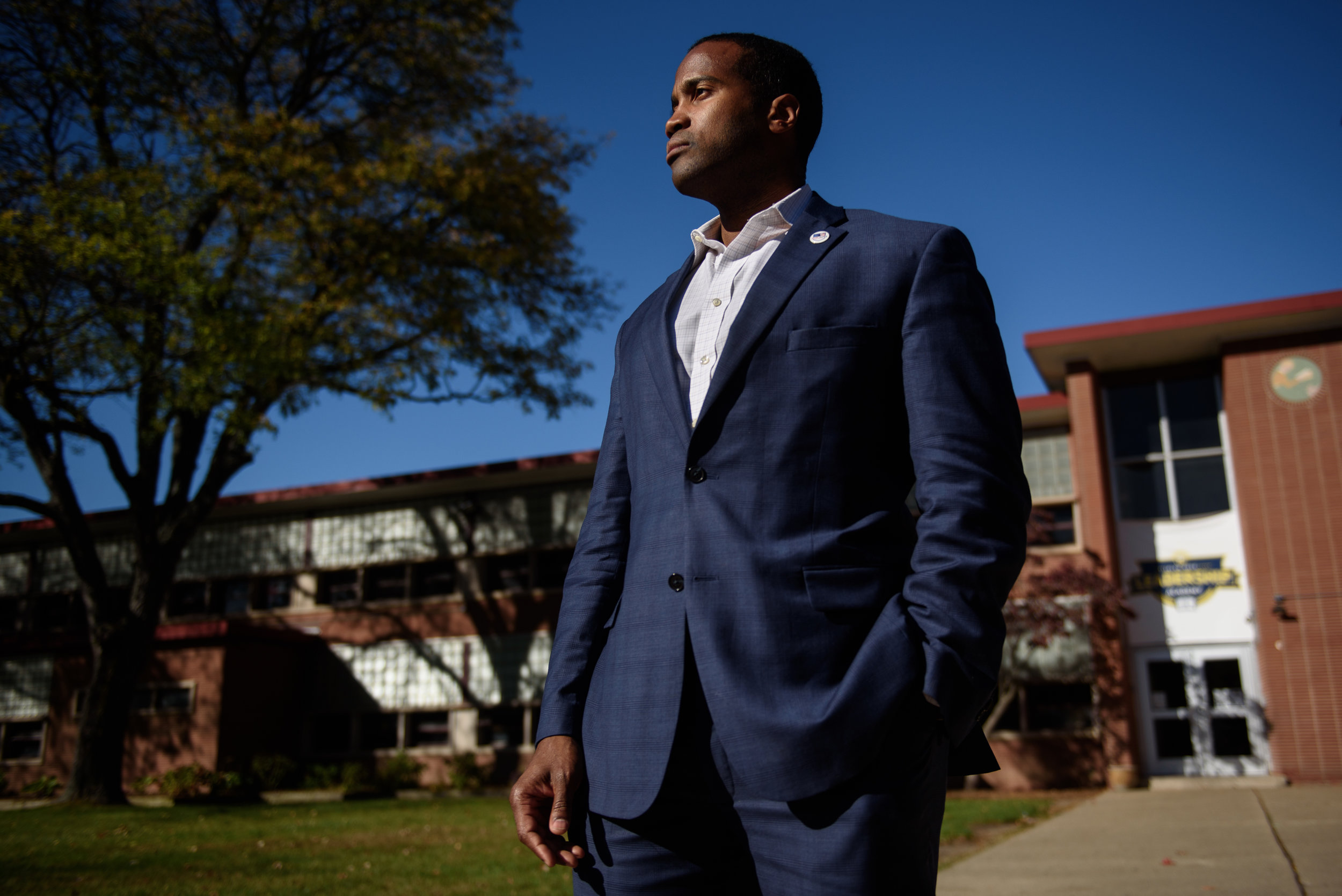 Detroit businessman and Iraq war veteran, John James, a Republican candidate for U.S. Senate in Michigan, poses for a portrait on Wednesday, Oct. 18, 2017 in Detroit, Mich.