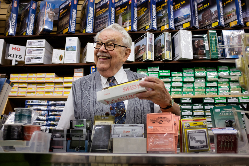 "Bob Mehler, 87, works in his business, Esther's Hobby Shop, on October 31, 2017 in Millvale, Pa. Mehler has worked in the store since he was a young boy. ""I guess you can say I literally grew up in the store,"" he said. Read more about the hobby shop in the  Washington Examiner ."