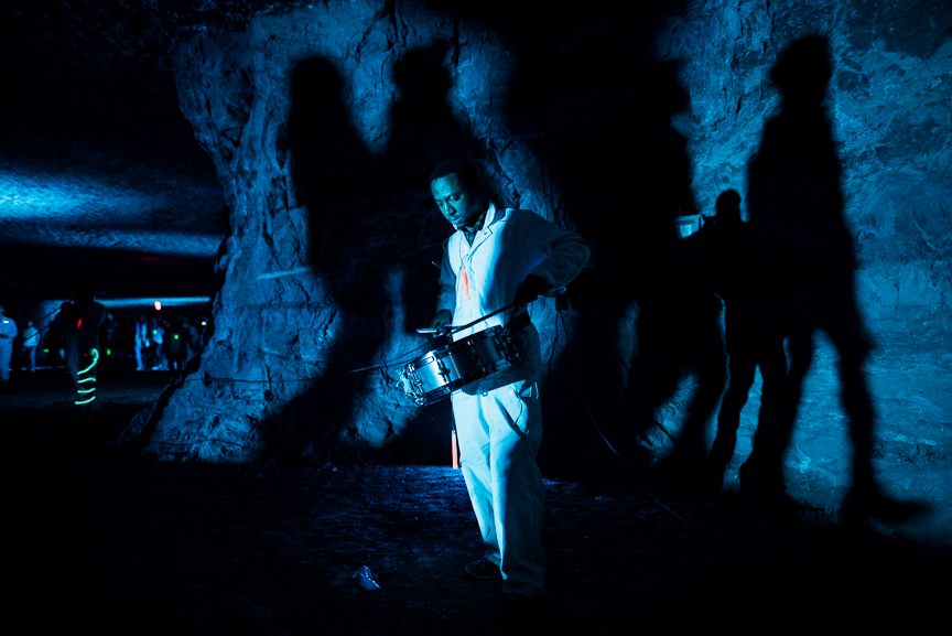 Lights are projected on the walls of Brady's Bend Underground Storage, a limestone mine that supplied much of the cement that built the city of Pittsburgh during the first half of the 20th century, during the SubSurface: Site Specific Sight & Sound arts festival on Saturday evening, Dec. 2, 2017 in East Brady, Pa. The project featured students and faculty from Carnegie Mellon University's College of Fine Arts, as well as the Integrative Design Arts and Technology (IDeATe) Network. Read more about the program in the  Pittsburgh Post-Gazette .