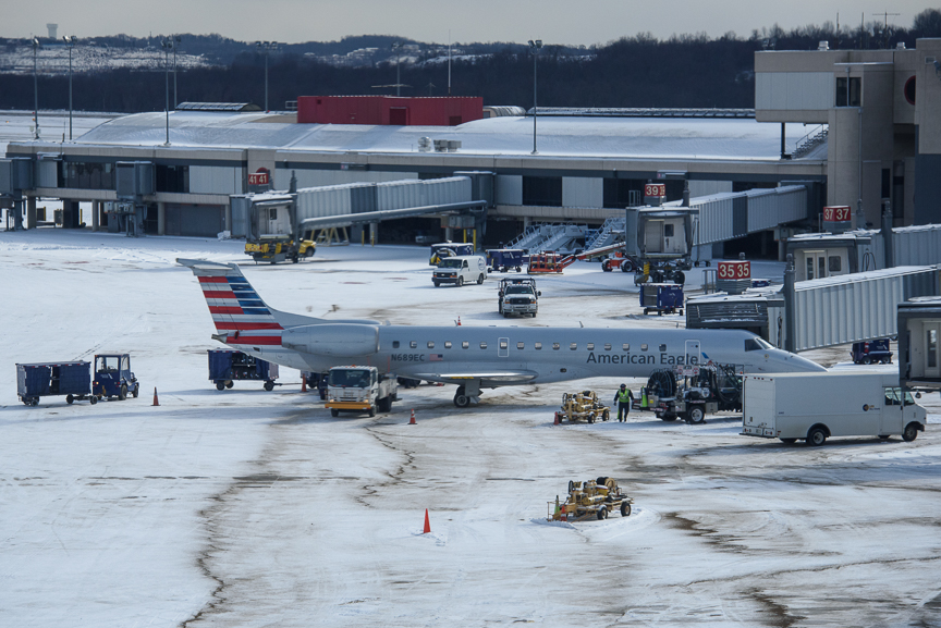 An American Eagle plane sits at one of the gates at Pittsburgh International Airport on December 14, 2017 in Moon, Pa. 