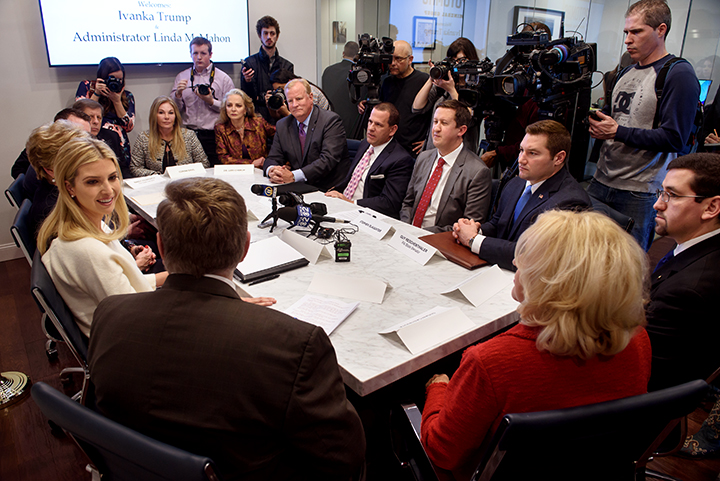 Advisor to the President Ivanka Trump joins with Administrator of the Small Business Administration Linda McMahon as they meet with small business owners in a roundtable discussion on Tuesday, February 13, 2018 at Potomac Mineral Group in Mt. Lebanon, Pa.