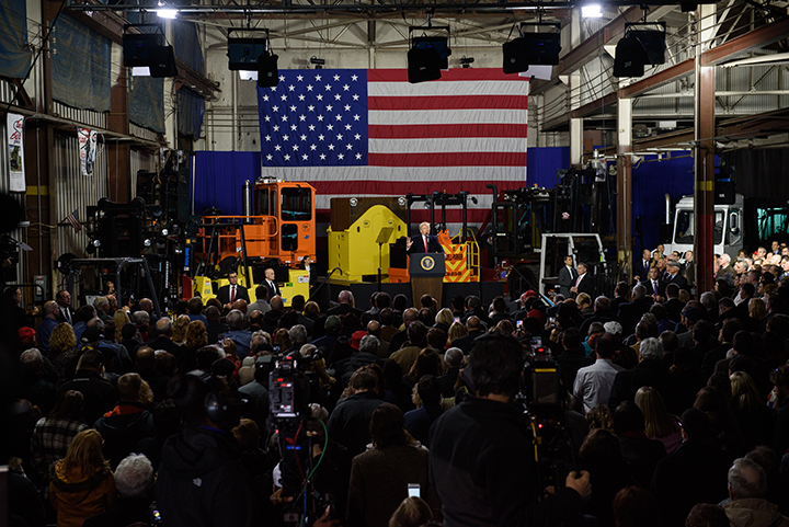 President Donald Trump speaks to an invited crowd of several hundred supporters during an official visit at H&K Equipment, a rental and sales company for specialized material handling solutions in North Fayette, Pennsylvania, on January 18, 2018. Trump visited the facility to talk about the Republican tax reform policy that was passed in late December and to endorse Republican nominee for the 18th Congressional District race, Rick Saccone. 