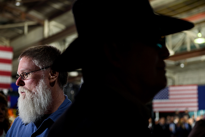 CORAOPOLIS, PA - JANUARY 18: Tim Randolph, 51, of Bloomingdale, Ohio waits at an official visit from President Donald Trump at H&K Equipment, a rental and sales company for specialized material handling solutions in Coraopolis, Pennsylvania, on January 18, 2018. Trump visited the facility to talk about the Republican tax reform policy that was passed in late December.