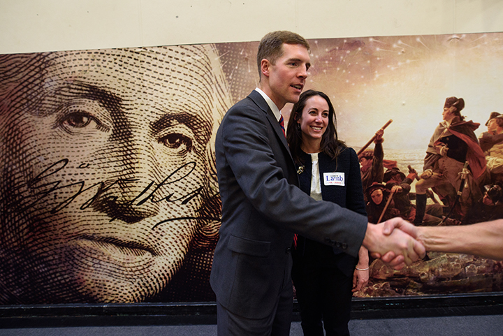 Conor Lamb is greeted by a supporter after winning the Democratic committee members nomination for Pennsylvania's18th District on November 19, 2017 at Washington High School in Washington, Pa.