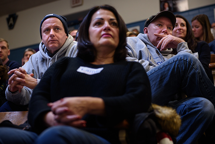 Supporters of Conor Lamb listen as he speaks to Democratic committee members at the party's convention to name a candidate for Pennsylvania's 18th District on November 19, 2017 at Washington High School in Washington, Pa.