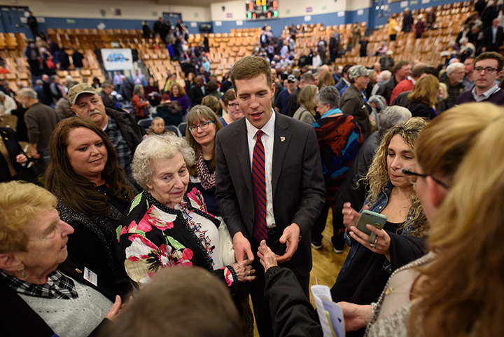 Conor Lamb talks with supporters after winning the Democratic committee members nomination for Pennsylvania's 18th District on November 19, 2017 at Washington High School in Washington, Pa.
