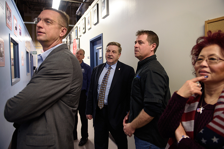 Rick Saccone, a Republican state lawmaker running for a US House seat in Pennsylvania's 18th Congressional District, (third from right), gets a tour of Rosedale Technical College on Monday, February 12, 2018 in Kennedy Township, Pa.