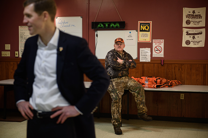 Tim Solobay, 61, of Canonsburg watches on as Conor Lamb, left, talks with supporters during a campaign event at the American Legion Post 902 on Saturday, January 13, 2017 in Houston, Pa. Solobay, a Democrat, was a former Pennsylvania State Representative as well as State Senator.