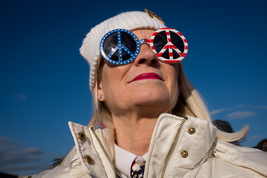 Diane Stecik of Elizabeth, Pa., waits in a line prior to President Donald Trump's rally for Rick Saccone, a Republican candidate for Pennsylvania's 18 congressional district, on Saturday evening, March 10, 2018 at Atlantic Aviation in Moon Township, Pa.