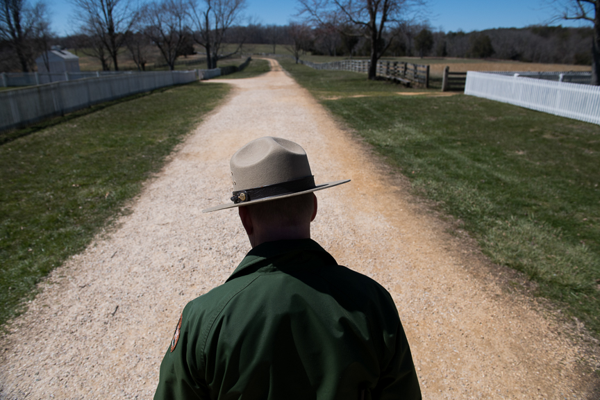 Ernest Price, Chief of Education and Visitor Services at Appomattox Court House National Park, stands along a road that runs in front of the McLean House on Monday, March 26, 2018 in Appomattox, Virginia. The McLean House was the site of General Robert E. Lee's surrender to General Ulysses Grant that ended the Civil War.