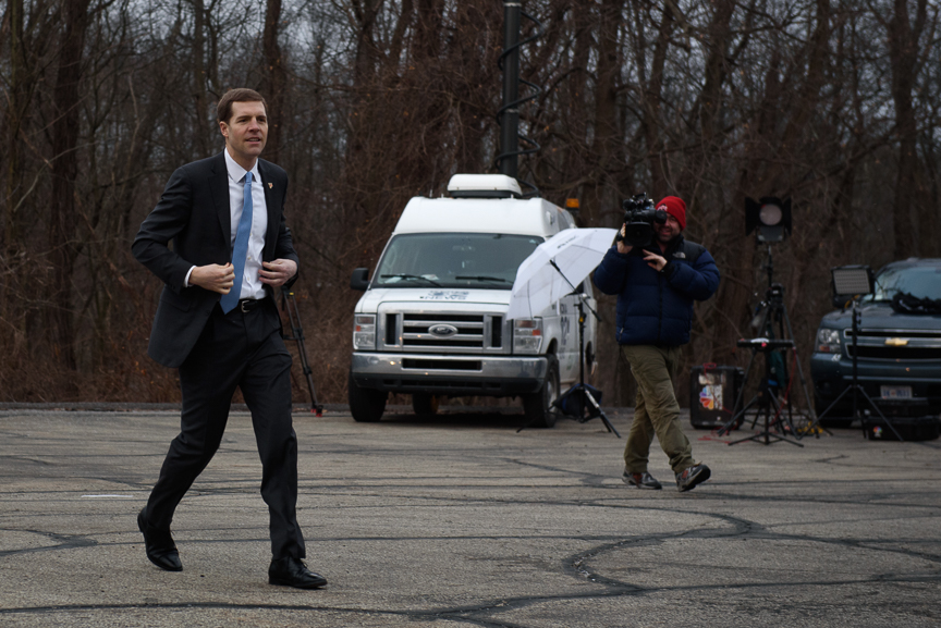 Conor Lamb, the Democratic candidate for Pennsylvania's 18th congressional district, walks into his polling location at First Church of Christ social hall on Tuesday, March 13, 2018 in Mt. Lebanon, Pa.