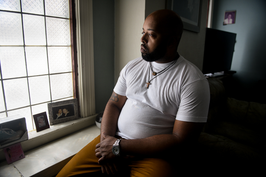 Michael Cannon sits in his home on June 24, 2018 in East Pittsburgh, Pa.