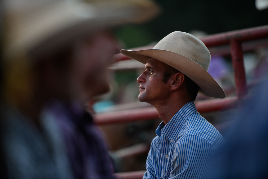 Bull rider Timmy Smith, 30, of LaBelle, Florida, waits for his turn to compete in the Fort Armstrong Championship Rodeo on Friday, July 13, 2018 at the Crooked Creek Horse Park in Ford City, Pa.