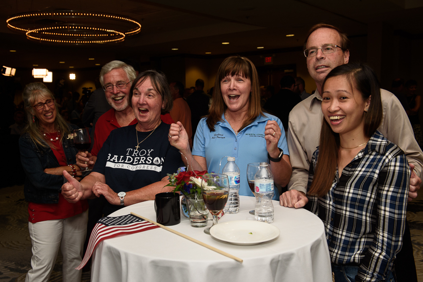 Supporters of Republican congressional candidate Troy Balderson react as returns come in for Ohio's special election for the 12th Congressional District at Balderson's election night party at the DoubleTree by Hilton Hotel on August 7, 2018 in Newark, Ohio. (Photo by Justin Merriman/Getty Images)