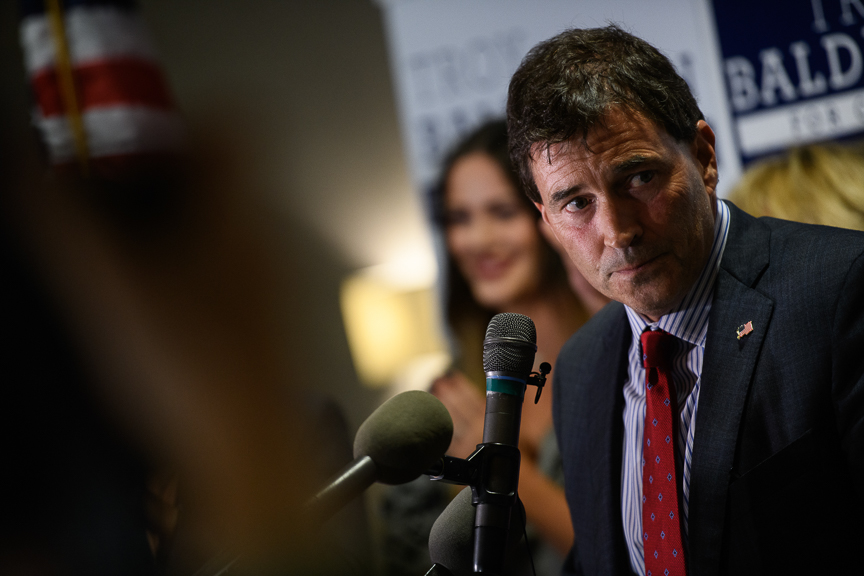 Republican congressional candidate Troy Balderson gives his victory speech at his election night party at the DoubleTree by Hilton Hotel on August 7, 2018 in Newark, Ohio. Balderson defeated Democrat Danny OConnor in a widely watched race that is considered a bellwether for November's elections. (Photo by Justin Merriman/Getty Images)