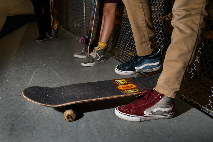 Logan Blank, 13, of Mars, Pa., stands on his skateboard at Switch and Signal Skatepark on Sept. 6, 2018 in Swissvale, Pa.
