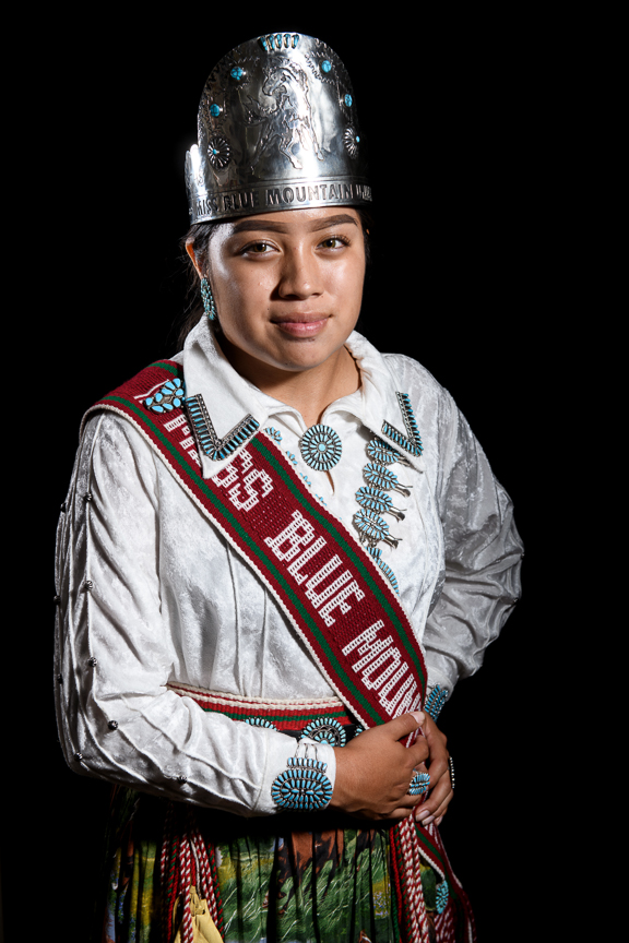 "Tiana Sam, 16, Miss Blue Mountain Unity Princess 2017-18, photographed at San Juan High School on October 3, 2018 in Blanding, Utah. ""It's important to me to save our culture and language because I'm full Navajo. Its important to pass it on to the next generation,"" says Sam."