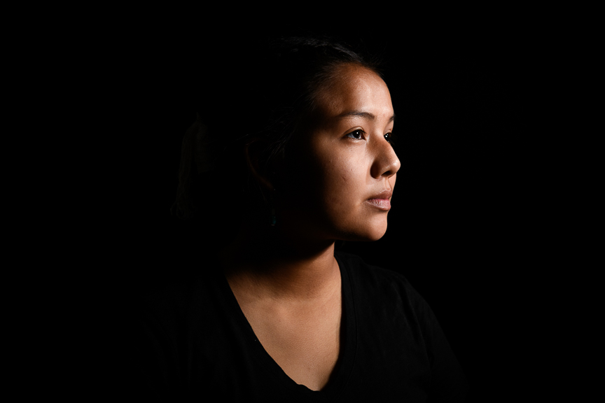 "Claramae Armajo, 14, photographed at San Juan High School on October 2, 2018 in Blanding, Utah. ""My great grandmother used to speak to me in Navajo. I'm very thankful that she and my grandma taught me."""