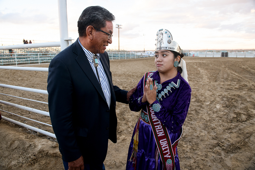 Russell Begaye, the president of the Navajo Nation, thanks Tiana Sam, 16, Miss Blue Mountain Unity Princess, for her work on the Duolingo Navajo language course as he meets her at the Shiprock Northern Navajo Nation Fair on October 5, 2018 in Shiprock, New Mexico. The president expressed the importance of preserving their native language and shared with her his pride for her efforts to help with the Navajo course.