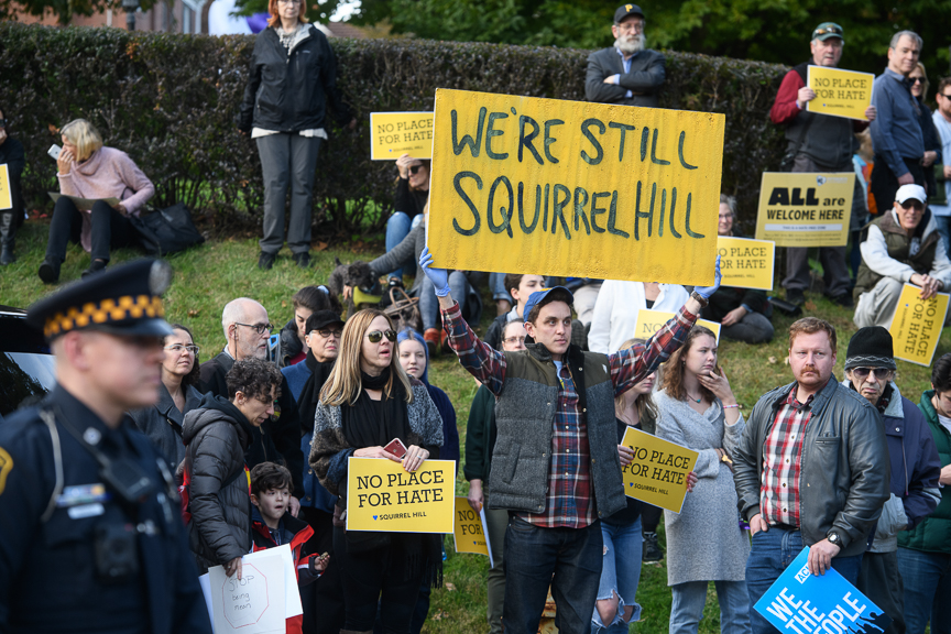 People join a solidarity march in response to the visit by President Trump to Pittsburgh and the Tree of Life Synagogue shooting on Tuesday, October 30, 2018 in Pittsburgh's Squirrel Hill neighborhood.