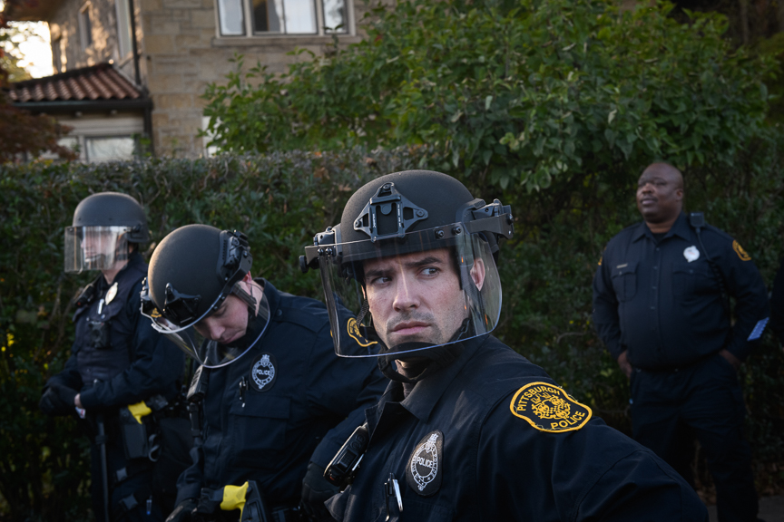 Pittsburgh Police move in during a tense moment at a solidarity march.