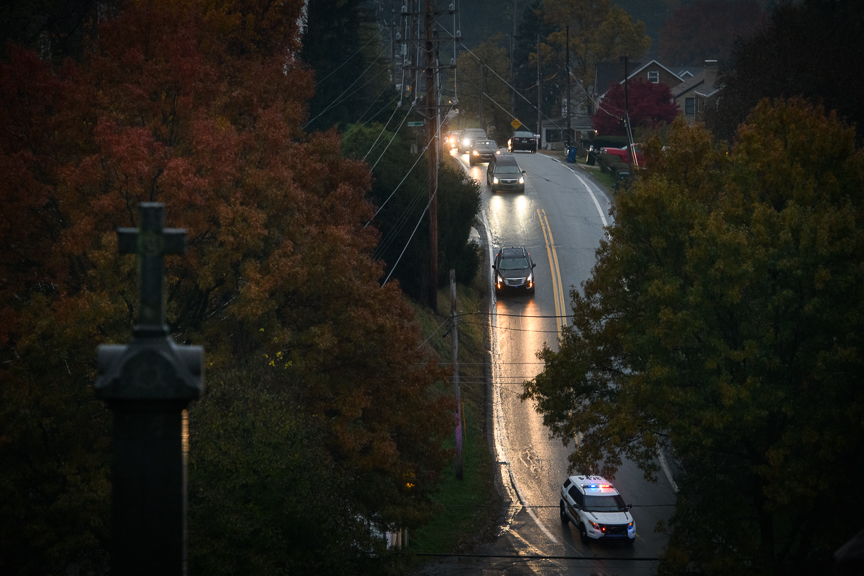 The funeral procession of Richard Gottfried makes its way to the New Light Cemetery on Thursday, November 1, 2018. Gottfried was one of the Tree of Life Synagogue shooting victims.